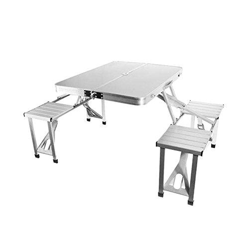 Pretty-jin Faltbare Tragbare Tisch und Stuhl Set Kombination Outdoor Picknick Tische und Stuhl Set Party Camping Feld Küche Outdoor Garten BBQ Aluminiumlegierung 86 * 66 * 68 cm