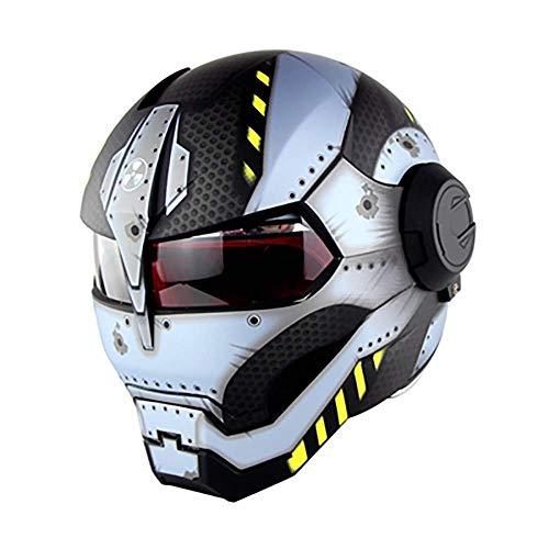 Motocross Full Face Motorrad Helm Persönlichkeit Iron Man D.O.T Zertifiziert Retro Style Flip Open Transformers Maske Harley Helm (Size : Large) -