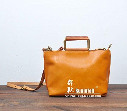 Fermeture à glissière simple vintage original sac en bandoulière sac bandoulière en cuir petit paquet Yellow