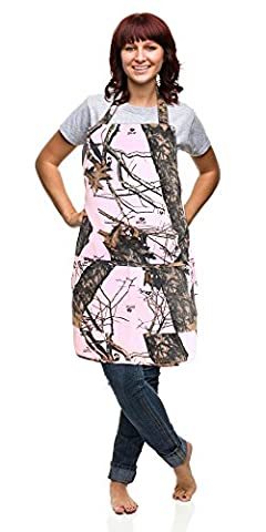 Realtree Mossy Oak Apron, Unisex S-2XL Mens Womens Sturdy Twill Camo Apron (Mossy Oak BU Pink Apron) by Camo Chique Boutique