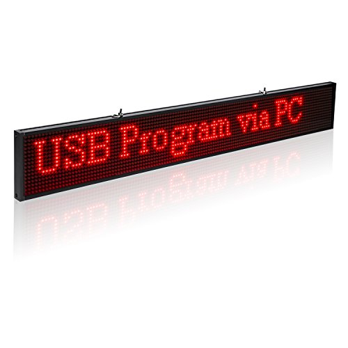 Leadleds Ultra-Thin Design P5mm 16X96 Pixel SMD LED programmierbare Scrolling Nachricht Sign Board, PC Software Change messages (rot) - 4