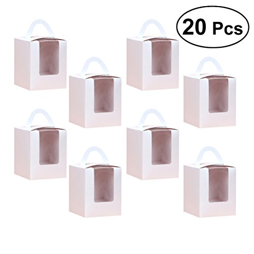 BESTONZON 20 Stücke Single Cupcake Boxen mit Fenstereinsatz und Griff für Hochzeitsfestbevorzugung Dekoration (Weiß) (Cupcake-container Single)
