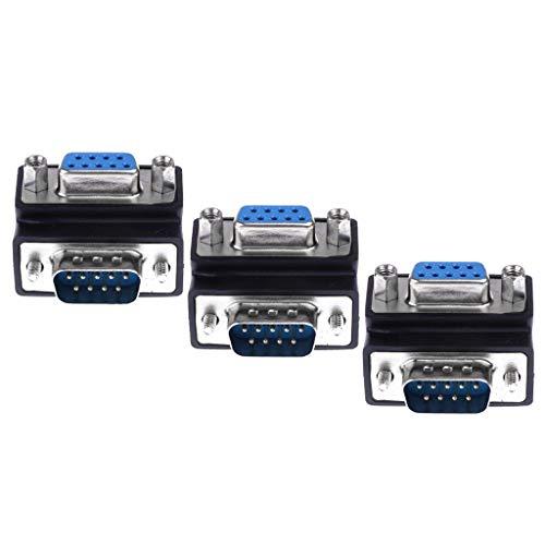 F Fityle 3X Serial RS232 DB9 Stecker/Buchse 90 ° Winkelstecker Gender Changer - Db9 F/f Gender Changer
