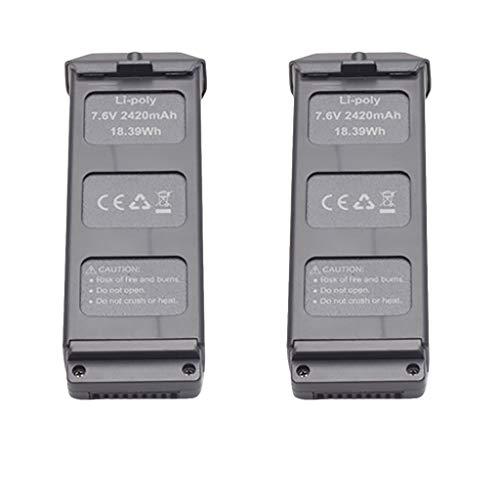 jfhrfged Compatibile con MJX B5W 4K -GPS Batteria quadricottero RC ad Alta capacità 7,6 V 2420 mAh 2 Pezzi (Nero)