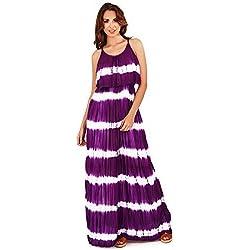 Vestido maxi de verano a rayas para mujer (Mediana (M) 40-42/Púrpura)