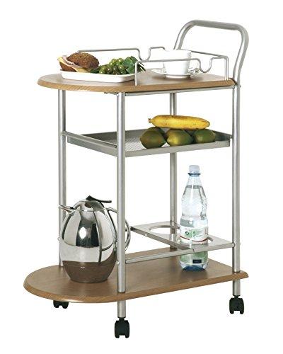 Haku Möbel 40027 - Carro para la cocina (tubo de acero, aluminio y madera de haya)