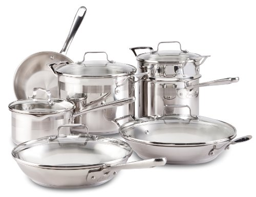 Emeril E884SC Restaurant Stainless Steel Cookware Set, 12-Piece, Silver by Emeril