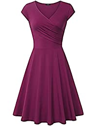 SG Kleid Fit und Flare Lässiges Wickelkleid Partykleider V-Ausschnitt große Schaukel