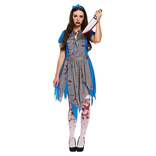 Damen Halloween Horror Alice in Wonderlamd Zombie-Kostüm, Größe (Zombie Alice Kostüm)