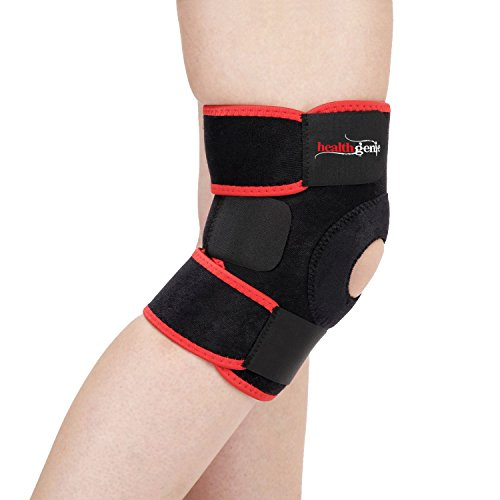 Healthgenie Adjustable Knee Support Patella with Free Size Fits Most (Black)