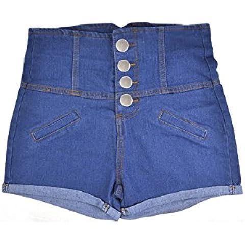 SODIAL(R) Senoras para mujer azul talle alto Hotpants Stretch Shorts Denim Jeans Pantalones - M