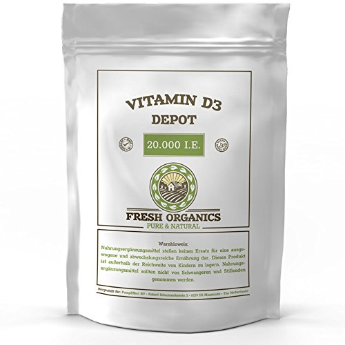 VITAMIN D3 20.000 I.E. DEPOT - 360 Tabletten I Vegan I Vorratspackung XL I Für Immunsystem, Knochen, Zähne und Wohlbefinden I Sonnenschein Vitamin D-3-1000 I.E. alle 20 Tage Made in Germany