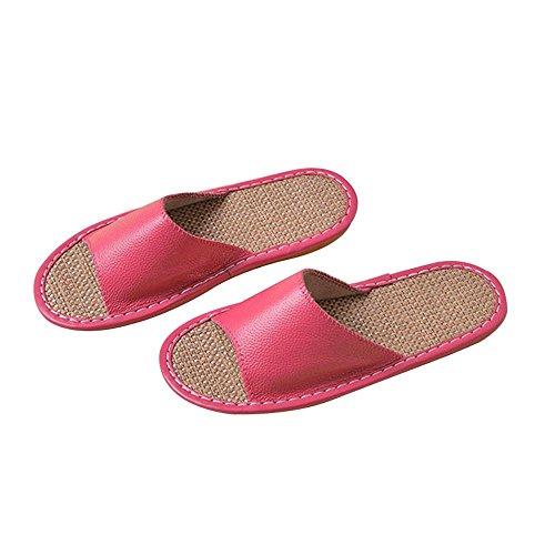 WANGXN Femme Pantoufles pantoufles d'été pantoufles de lin en cuir pantoufles antidérapant déodorant respirant intérieur Rose Red