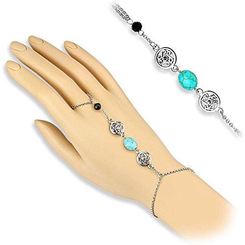 Bungsa® silberne Slave Handkette mit Türkisstein und schwarzem Bead (Handschmuck Slave- Kette Bracelet Armband Fingerring - Silber-armband-finger-ring