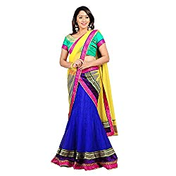 Florence Womens Net Braso Lehenga Choli (AN_1031_Blue)