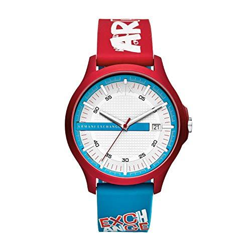 Armani Exchange Herren Analog Quarz Uhr mit Silikon Armband AX2409