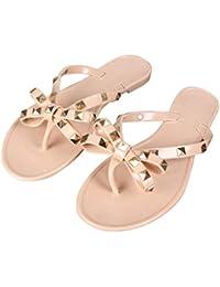3a918dbca52f3 Stylish Women Sandals Rivets Bowknot Flat Slippers Girls Flip Flops Elegant  Summer Shoes Cool Beach Jelly