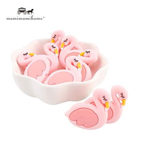 Mamimami home 10 pezzi bambino massaggiagengive in silicone carina mini rosa fenicottero cigno anatra braccialetto masticabile a forma di perline accessori collana fai da te giocattoli dentizione