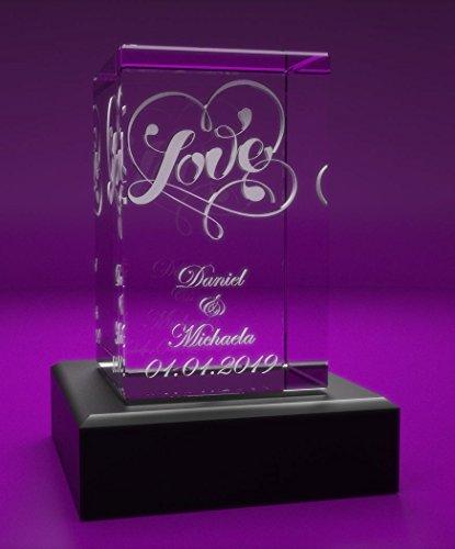 VIP-LASER 3D Glas Kristall Quader XL mit Love und Deinen Namen + Datum im Hochformat graviert! Geschenk für wie Geburtstag, Jahrestag, Valentinstag und...