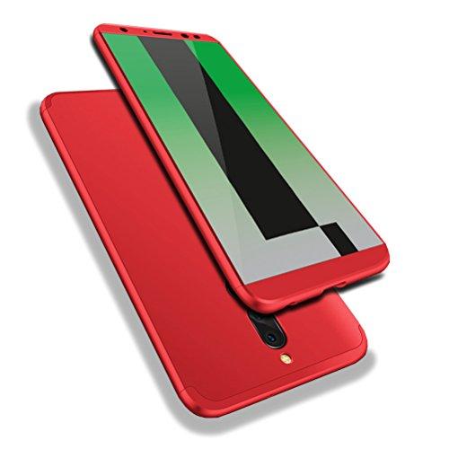 10 Lite Hülle, Abdeckung Tasche Anti Fingerabdruck Stoßfest Anti-rutsch 3 in1 Harte PC Schutzhülle für Huawei Honor 9i/Nova 2i/Mate 10 Lite Rot + Panzerglas Schutzfolie (Bling-bling-felgen)