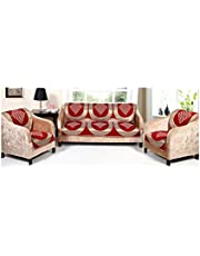 Luxury Crafts 5 Seater Cotton Sofa Cover with Attractive Design Along with Chair Cover (Red)