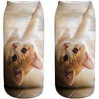 Kinlene Unisex Divertido 3D Moda Gato Impreso Casual Calcetines Calcetines de tobillo de corte bajo lindos