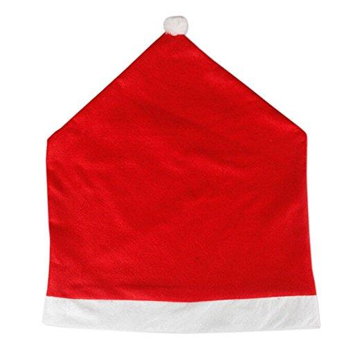 Decoration de chaise de Noel - SODIAL(R) 1 x Pere Noel chapeau rouge couverture de l'arriere de chaise de fete Noel Decoration cadeau