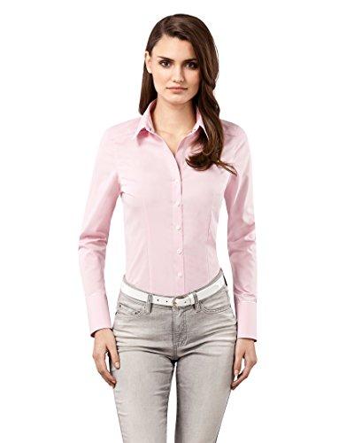 Vincenzo Boretti Damen Bluse tailliert 100% Baumwolle bügelfrei Langarm Hemdbluse elegant festlich Kent-Kragen auch für Business und unter Pullover Altrosa 38