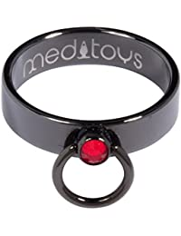 "meditoys® - 'Anillo de O' – PVD negro con cristal original de Swarovski""luz siam"""