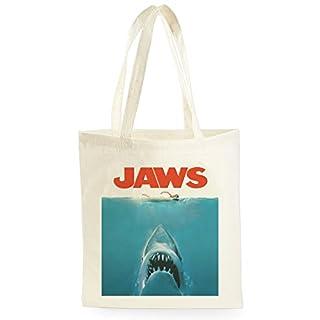 Jaws Poster, Sac de marché fourre-tout pour le magasinage, le pique-nique, le stockage à la maison et l'école, tote bag