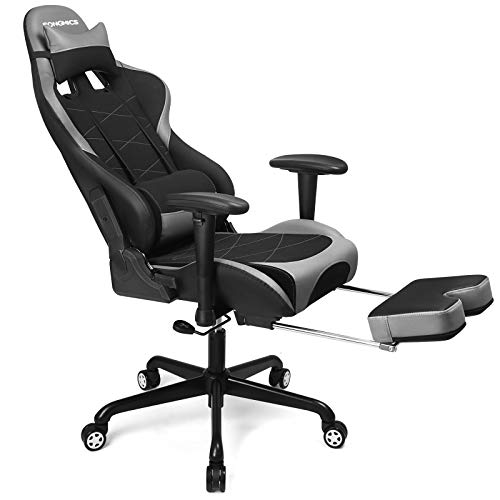 SONGMICS Gaming Stuhl mit Fußstütze, 150 kg, Bürostuhl, Schreibtischstuhl, Lendenkissen, Kopfkissen, hohe Rückenlehne, ergonomisch, Stahl, Kunstleder, atmungsaktives Meshgewebe, schwarz-grau RCG52BG