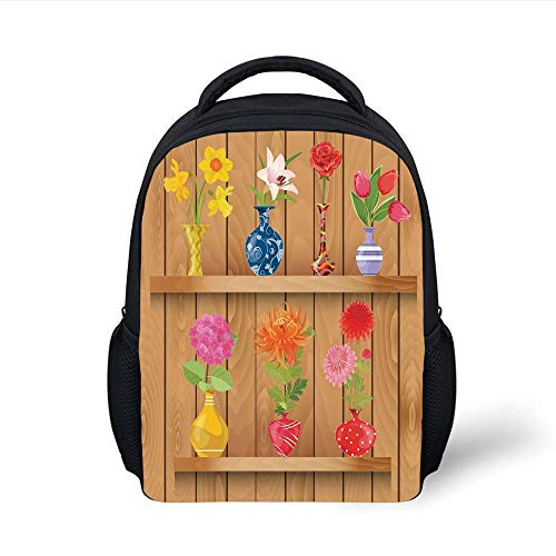 Kids School Backpack Daffodil,Glass Vases with Colorful Flowers on Wooden Shelves with Pastel Effects Artsy Graphic,Multi Plain Bookbag Travel Daypack