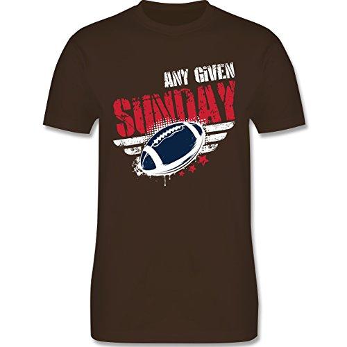 Shirtracer American Football - any Given Sunday Football New England - Herren T-Shirt Rundhals Braun