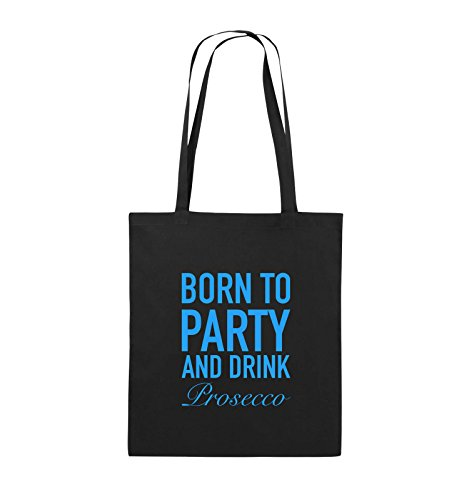 Comedy Bags - BORN TO PARTY - Prosecco - Jutebeutel - lange Henkel - 38x42cm - Farbe: Schwarz / Silber Schwarz / Blau
