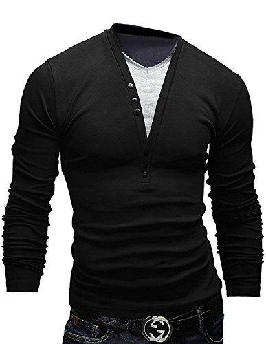 BOMOVO Herren Langarmshirt Spleiß Gefälschte Zwei T-Shirt Schwarz