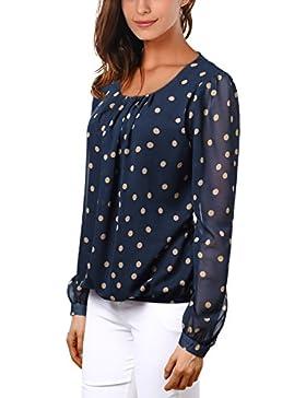 wajat maglietta a maniche lunghe o collo di chiffon camicetta tops Tunica con fascia in gomma