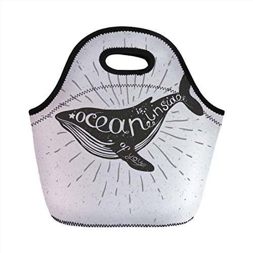 Portable Bento Lunch Bag,Whale,Ocean Inside of You Inspirational Typography with Big Fish Grunge Illustration,Charcoal Grey,for Kids Adult Thermal Insulated Tote Bags -