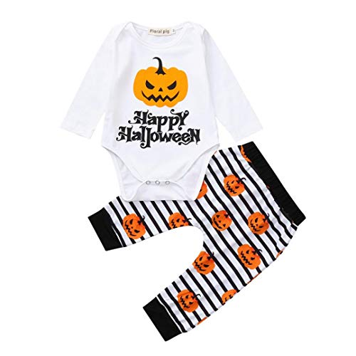 (Tefamore Halloween Kleinkind Infant Baby Mädchen Kürbis Brief Drucken Strampler und Hosen Kostüm Outfits Set Weiß)