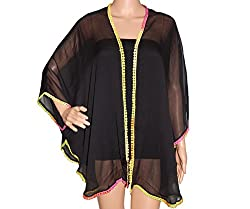 URBAN TRENDZ 2774 Polyester Kimono Topper with attrative Lace attached