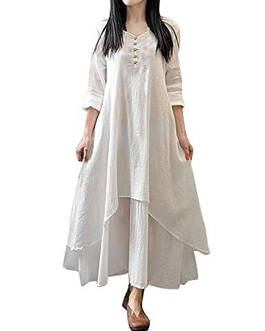 Minetom Femme Vintage V Neck Longue Maxi Robe en Coton Linge Casual de Soiree Bal Cocktaill Dress ( Blanc FR 46 )