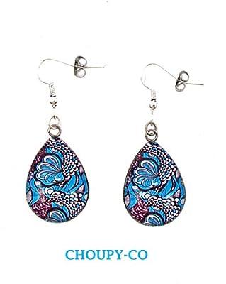 Boucles d'oreilles pendantes forme gouttes * Wax Africain * bleu et blanc argenté boucles colorées cabochon en verre femme cadeaux anniversaires cadeaux copines