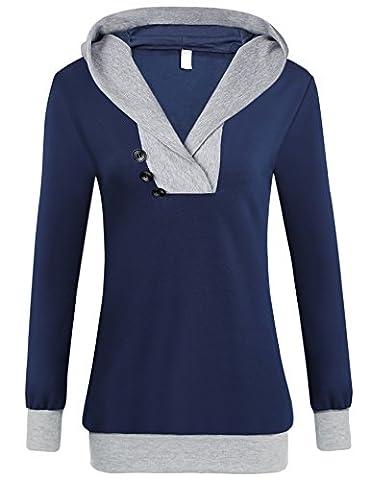Women Spring Long Sleeve Hooded Pullover Casual Hooded Sweatshirt (L, Dark Blue)