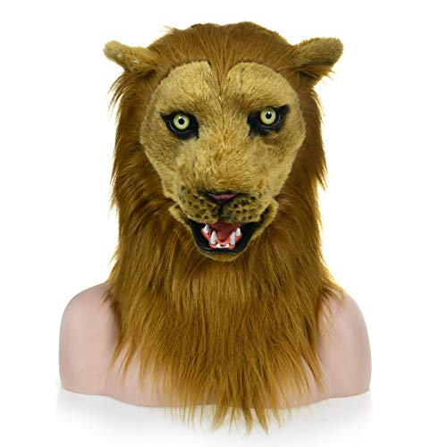 Kostüm Pudel Adult - Yhui Maske Adult Moving Mouth Faux Fur Kostüm Maske-Lion Maske for Party One-Size (Color : Brown)