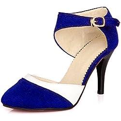 Minetom mujer boca baja cuero de nubuck tacones altos color del encanto de fina tacón alto sandalias boda fiesta Azul