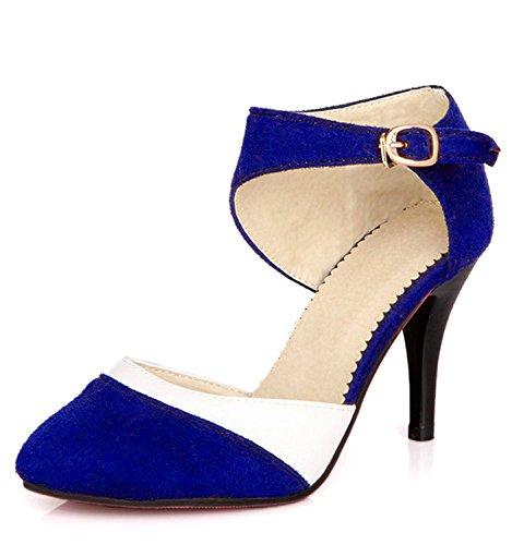 Minetom Donne Elegante Scarpe Con Tacco Alto Stiletto Scamosciato Semplice Pump Scarpe Colore Di Periodo Décolleté Shoes Blu EU 40