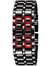 UNEQUETREND Fashion Black Full Metal Digital Lava Wrist Watch Iron Metal Red LED Samurai for Men Boy Sport Simple Wathes