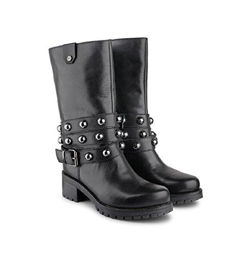 Scarpe Cult donna cle103098 metallica boot 1808 pelle alta black bikes lover fw 17/18