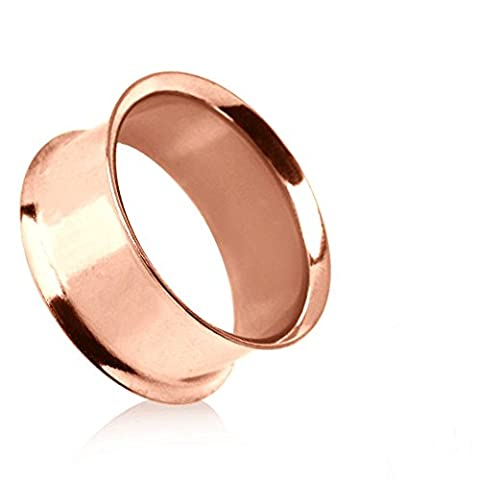 8MM ( 0 ) Double Flared Flesh Tunnel Rose-Gold Plated