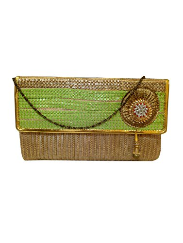 Bhamini Green Sequins Clutch with Beauteous Jhumka Brooch