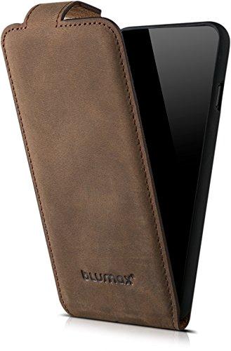 """Blumax echt Leder Flip Case Lederhülle für iPhone 8 iphone 7 4,7"""" Zoll Handytasche mit Magnet ultra Slim Ledertasche Handyhülle Farbe Vintage Dunkel Braun (Portemonnaie Geld Magnetische Leder Clip)"""